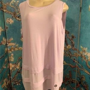 Michael Kors Purple Sheer Hemline Tunic Tank Top